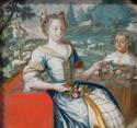 Historisches Gemälde mit zwei Damen vom Schloss Romont