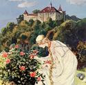 Zeichnung von Dornröschen vor Schloss Kyburg