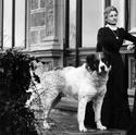 Edle Dame mit Bernhardiner auf Schloss Hünegg