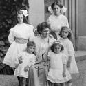 Historisches Foto von Familie auf Schloss Oberhofen